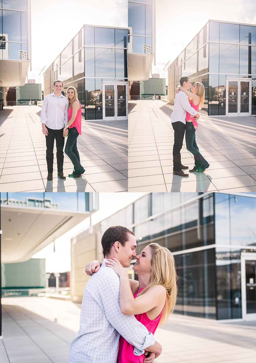 Engagement session in downtown Dallas photographed by north Dallas, Tx area photographer Amber Knauss of Golightly Images.